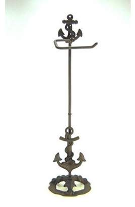 """Carver's Olde Iron Standing Cast Iron Anchor Toilet Paper Holder Nautical 28"""" tall"""