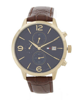Tommy Hilfiger 1710359 Gold-Tone & Brown Croc-Embossed Liam Watch