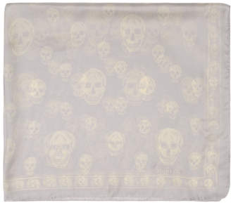 Alexander McQueen Grey and White Skull Scarf