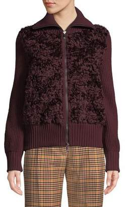 Moncler Wool Cardigan w/ Mohair Front