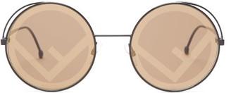 Fendi Fendirama Round Metal & Acetate Sunglasses - Womens - Black