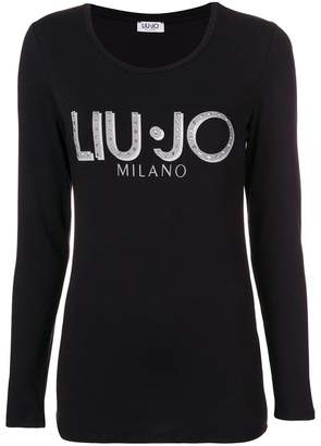 Liu Jo embellished logo long-sleeve top