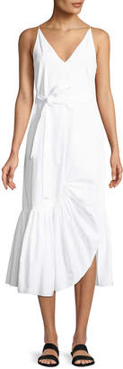 Rosetta Getty V-Neck Sleeveless Tie-Waist Ruffle Camisole Shift Dress