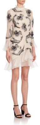 Erdem Constance Embellished Coy Silk Dress