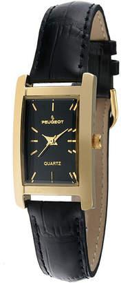 Peugeot Womens Black Leather Strap Slim Watch