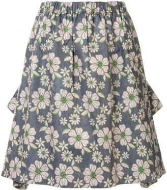 Comme des Garcons Pre-Owned floral gathered skirt