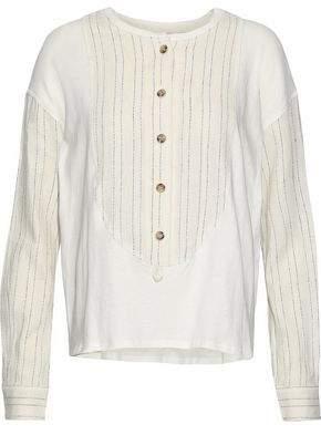 Derek Lam 10 Crosby Striped Gauze-Paneled Cotton-Jersey Top