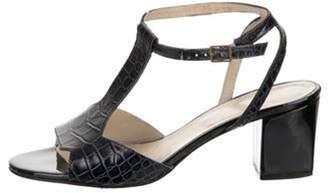 Clergerie Crocodile Ankle Strap Sandals Blue Crocodile Ankle Strap Sandals