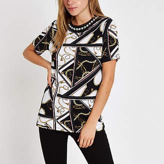 River Island White chain print embellished neck T-shirt