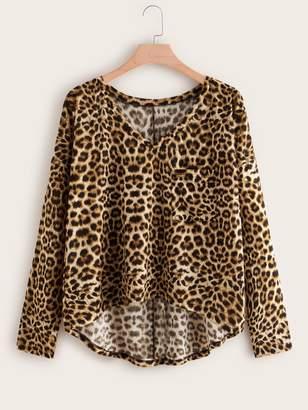Shein Plus Cheetah Print High Low Hem Tee