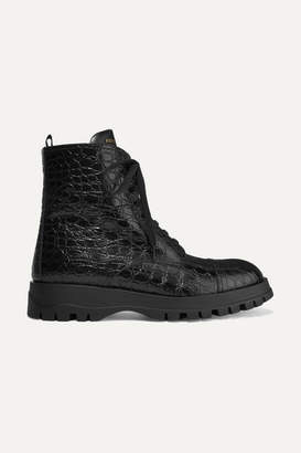 Prada Croc-effect Leather Ankle Boots - Black