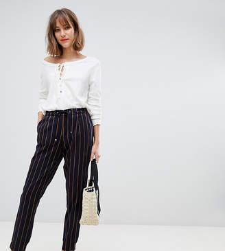 Esprit drawstring stripe pants in navy