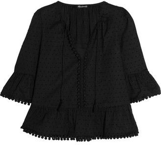 Madewell - Pompom-trimmed Swiss-dot Cotton Blouse - Black $90 thestylecure.com