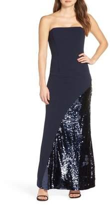 Eliza J Crepe & Sequin Embellished Strapless Evening Dress