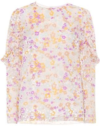 See by Chloe Flocked velvet printed silk top