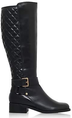 Carvela Polished Block Heeled Knee High Boots, Black
