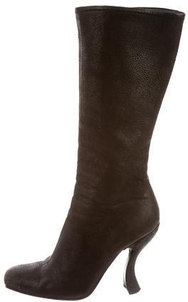 pradaPrada Leather Round-Toe Boots