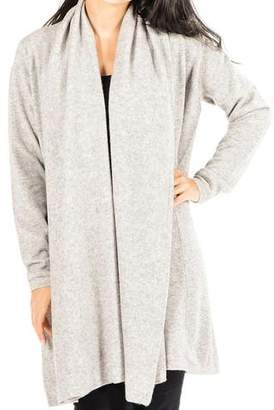 Black Soft Grey Longline Cashmere Cardigan