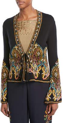Etro Tie-Front Paisley-Intarsia Short Knit Jacket
