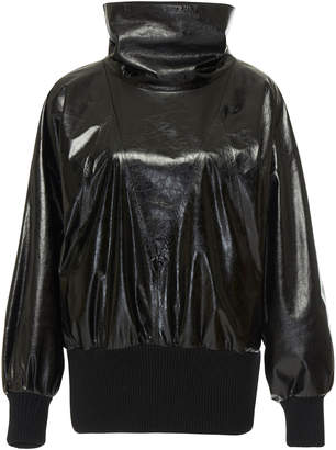 Givenchy Leather Turtleneck Blouson Top