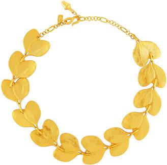 Kenneth Jay Lane Satin-Finished Golden Branch & Leaf Necklace