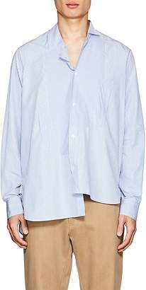Loewe Men's Striped Cotton Poplin Asymmetric Shirt