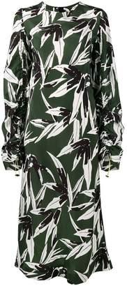 Marni ruched leaf print dress