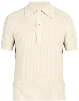 Etro Contrast Panel Cotton Polo Shirt - Mens - Beige