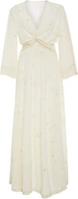 Ganni Nolana Tie Front Floral Silk Maxi Dress
