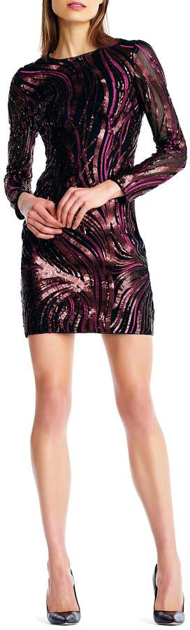 Aidan Aidan Mattox Embroidered Sequin Cocktail Dress