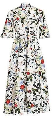 Erdem Women's Kaiya Floral Button-Front Midi Dress