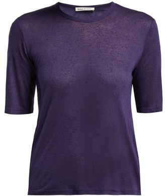 Frances De Lourdes - Martin Round Neck Modal And Silk Blend T Shirt - Womens - Navy