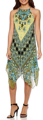 MSK Sleeveless Halter Scarf-Print Hanky-Hem Shift Dress