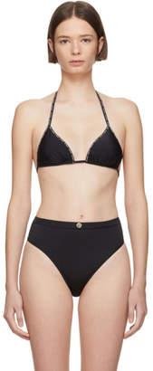 Versace Underwear Black Logo String Ribbon Bikini Top