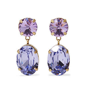 Swarovski Roxanne Assoulin - Hip Hop But Not Baby Gold-tone Crystals Earrings - Violet
