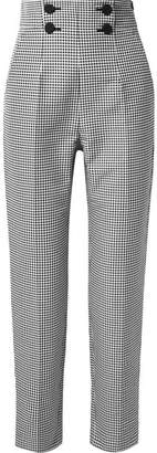 Sara Battaglia Button-embellished Gingham Cotton-blend Straight-leg Pants - Black