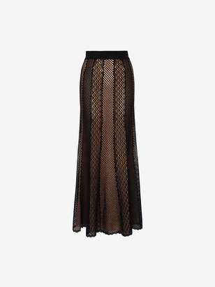 Alexander McQueen Mesh Patchwork Knit Skirt