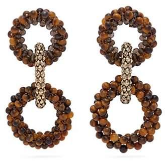 Rosantica By Michela Panero - Carramato Beaded Drop Earrings - Womens - Brown