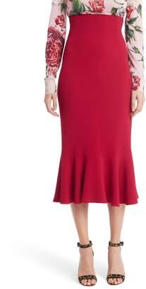 Dolce & Gabbana Ruffle Hem Cady Pencil Skirt