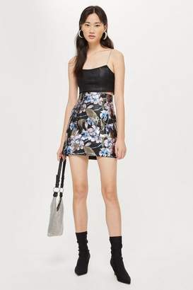 Topshop Flower Painted Mini Skirt