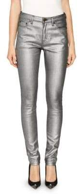 Saint Laurent High-Rise Metallic Skinny Jeans