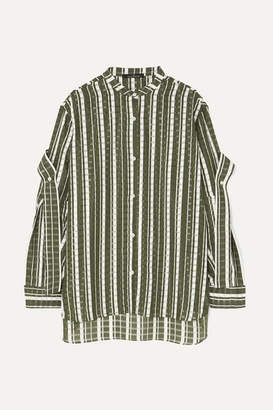 Rokh Tie-detailed Checked Jacquard Tunic - Green