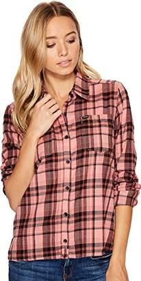 Hurley Women's Apparel Women's Long-Sleeve Plaid Flannel Button Down