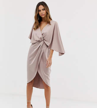 7c54dd9df0 Asos Design DESIGN satin kimono midi dress with knot front and asymmetric  sleeve
