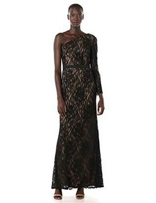 Tadashi Shoji Women's ONE Shldr L/S LACE Gown Black/Nude 2