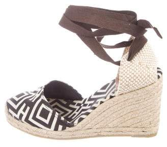 Tory Burch Printed Canvas Wedges