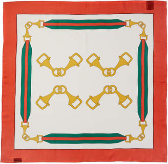 Gucci Interlocking G Stirrups Print Silk Scarf