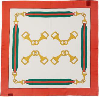 Gucci Interlocking G Stirrups Print Silk Scarf