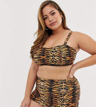Wolf & Whistle Curve Exclusive Eco adjustable high waist bikini bottom in tiger print