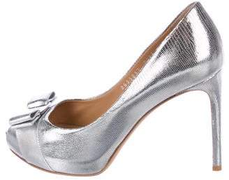 Salvatore Ferragamo Metallic Peep-Toe Pumps